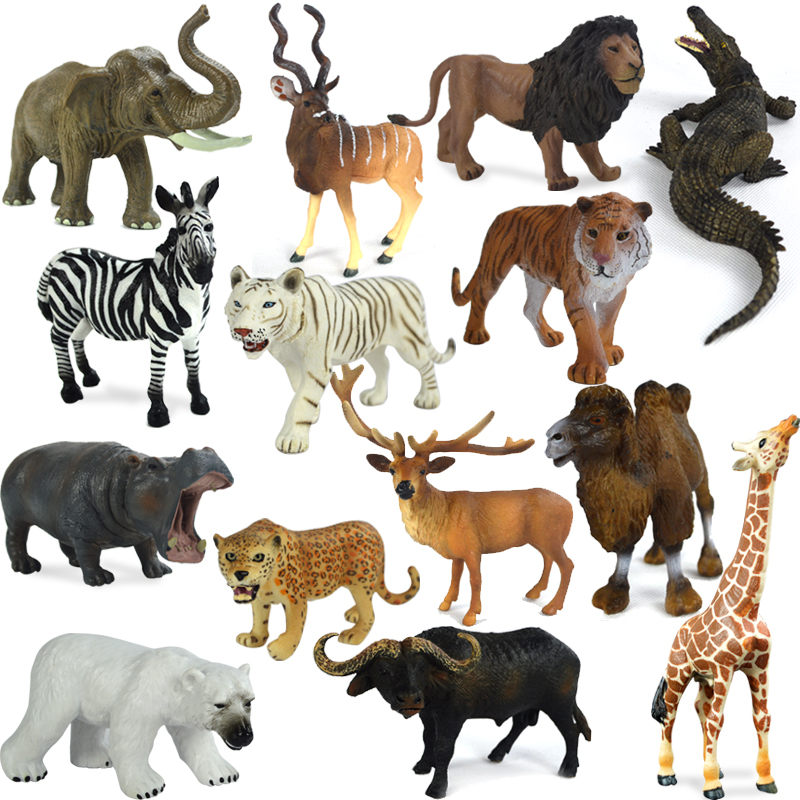 Wild Plastic Animal Toy Original Genuine Wild Jungle Zoo Farm Plastic Animals Elephant Tiger Polar Bear Cheetah children's gift mr froger chinese alligator model toy wild animals toys set zoo modeling plastic solid crocodile classic toys cute animal models