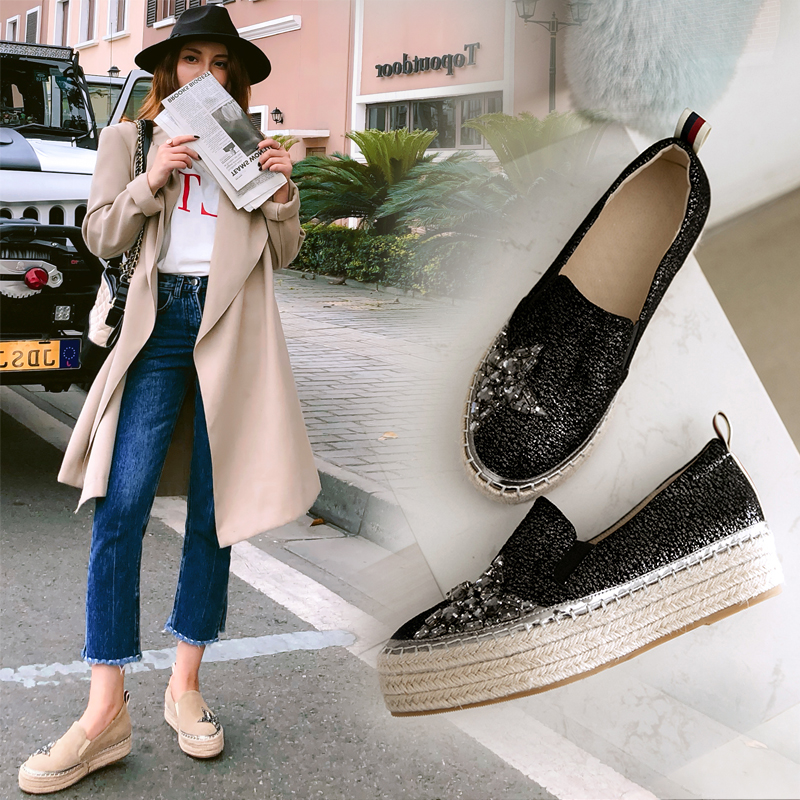 New 2019 Women Flat Shoes Fashion Suede Hemp Espadrilles Women Loafers For Spring Summer Rhinestone Flats Platform Fish Shoes breathable women hemp summer flat shoes eu 35 40 new arrival fashion outdoor style light