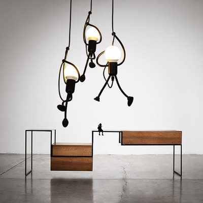 Nordic Ferro Criativo Luzes de Suspensão Para sala de Jantar Sala de estar Pouco Homem Escalada Corda Luzes Pingente Art Decoração Luminária