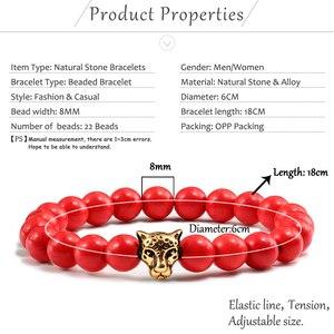Image 5 - Gold Leopard Head Beads Buddha Bracelet Femme Homme Natural Stone Prayer Yoga Men Jewelry Ethnic Handmade Bracelets&Bangles Gift