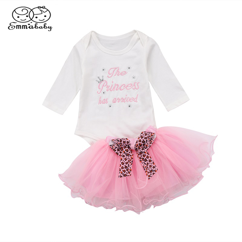 Emmababy Infant Toddler Baby Girl Long Sleeve Romper Top+ Lace Bowknot Tutu Mini Skirt Outfits Clothes