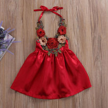 Pudcoco/платье для маленьких девочек; коллекция года; милые вечерние Сарафаны с цветочным рисунком для маленьких девочек; торжественные платья с объемным рисунком; одежда; От 0 до 5 лет