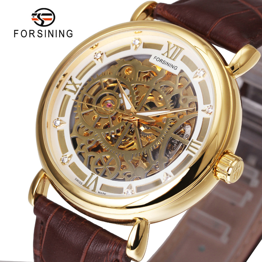 "FORSINING Luxury Golden Men Auto Mechanical Wristwatches Leather Strap Roman Number Crystal Decoration Royal Skeleton Watch подставка для ноутбука 17"" zalman zm nc3 черная"