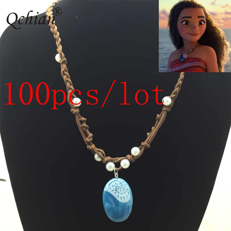 100pcs/lot Movie Princess Moana Necklace Cosplay Pendants blue Stone Moana Necklaces for Kids Girls Women Cosplay Jewelry
