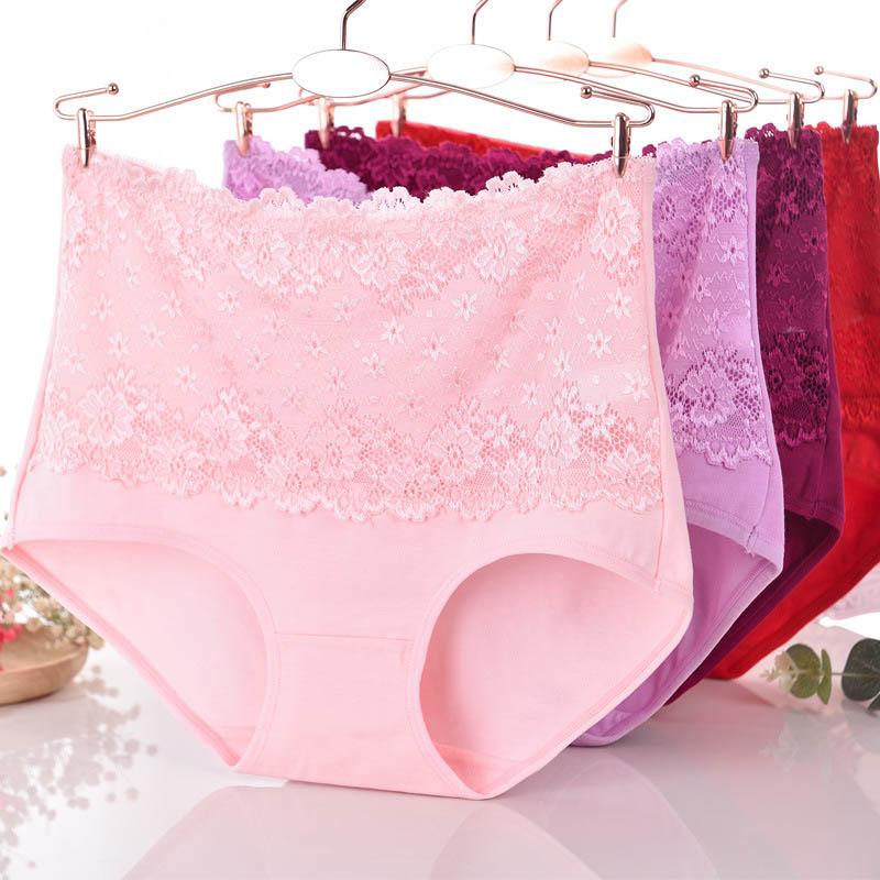 GüNstig Einkaufen 1 Stück Frauen Große Größe Unterwäsche Weibliche Druck Dessous Damen Baumwolle Jacquard Slip Hohe Taille Höschen