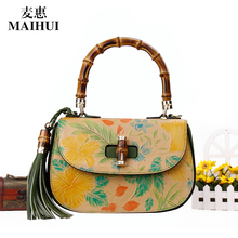 Maihui women leather handbags Head layer cowhide bag ladies shoulder bags genuine leather cartoon priting national flap bag