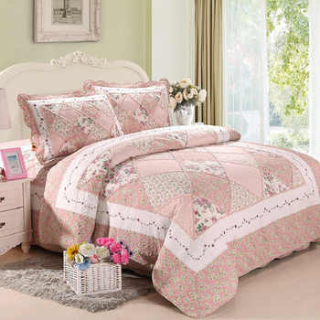 Korea Pink Floral Patchwork Quilt Set 3PCS Bedspread Quilted Bedding Cotton Quilts Bed Covers Shams King Size Coverlet Blanket - DISCOUNT ITEM  27% OFF All Category