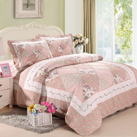 Korea Pink Floral Patchwork Quilt Set 3PCS Bedspread Quilted Bedding Cotton Quilts Bed Covers Shams King Size Coverlet Blanket