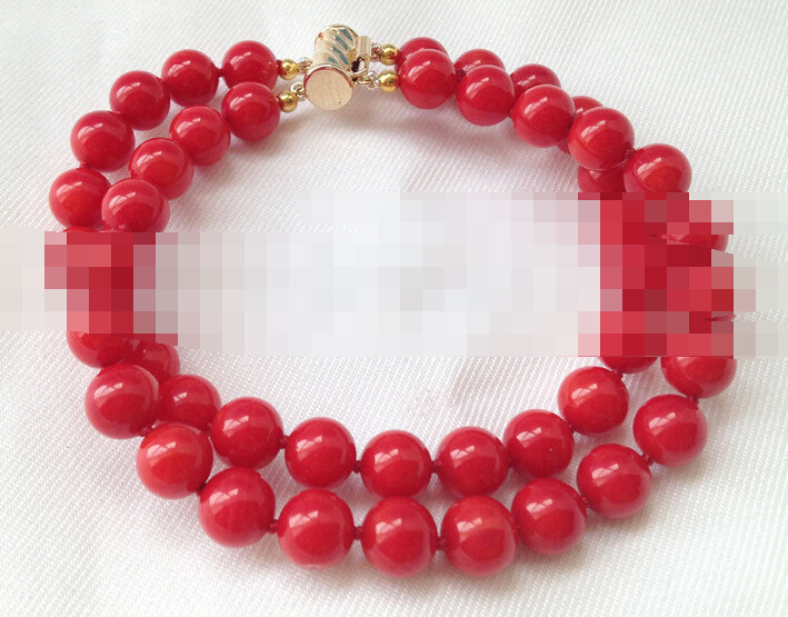 Vente chaude >@@> 00895 2row rond rouge corail bracelet or rempli fermoir-Mariée bijoux livraison gratuite - 3