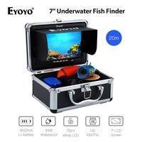 EYOYO 7inch 20M 12VDC Fish Finder 12pcs White LED Light HD 1000TVL IP68 Underwater Ocean River