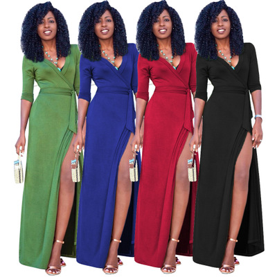 90eaf4945c6 Women Autumn Long Sleeve Party Dresses Sexy V-neck Split Maxi Dress Plus  Size Vestidos Mujer