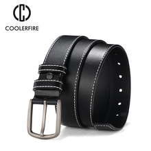 COOLERFIRE Men Belts New Fashion Black&Blue&Orange brown Business Style Waist Casual Design genuine Leather Belt HQ081
