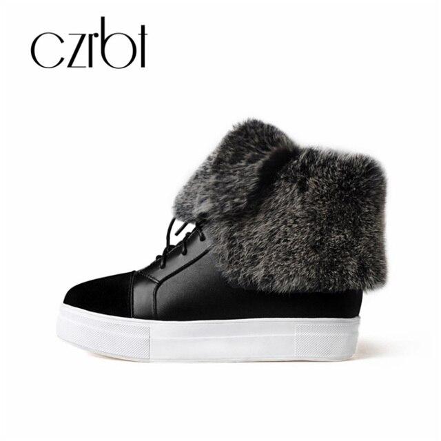 CZRBT kış kadın ayakkabısı deri kemer sıcak tavşan cilt yumuşak kar botları kadın moda rahat kaymaz kadın ayakkabısı
