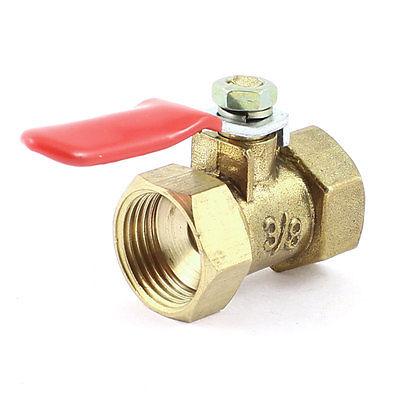 3/8 PT x 3/8 PT Thread Full Port Red Lever Handle Ball Valve 1 2 pt male to female thread metal lever handle full port brass ball valve