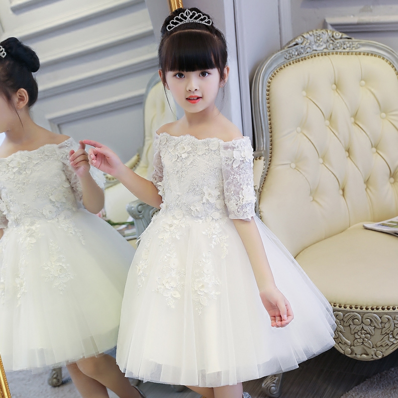 New Arrival Elegant White Children Babies Embroidery Flowers Princess Ball gown Lace Dress Kids Girls Birthday Wedding Dress lace butterfly flowers laser cut white bow wedding invitations printing blank elegant invitation card kit casamento convite