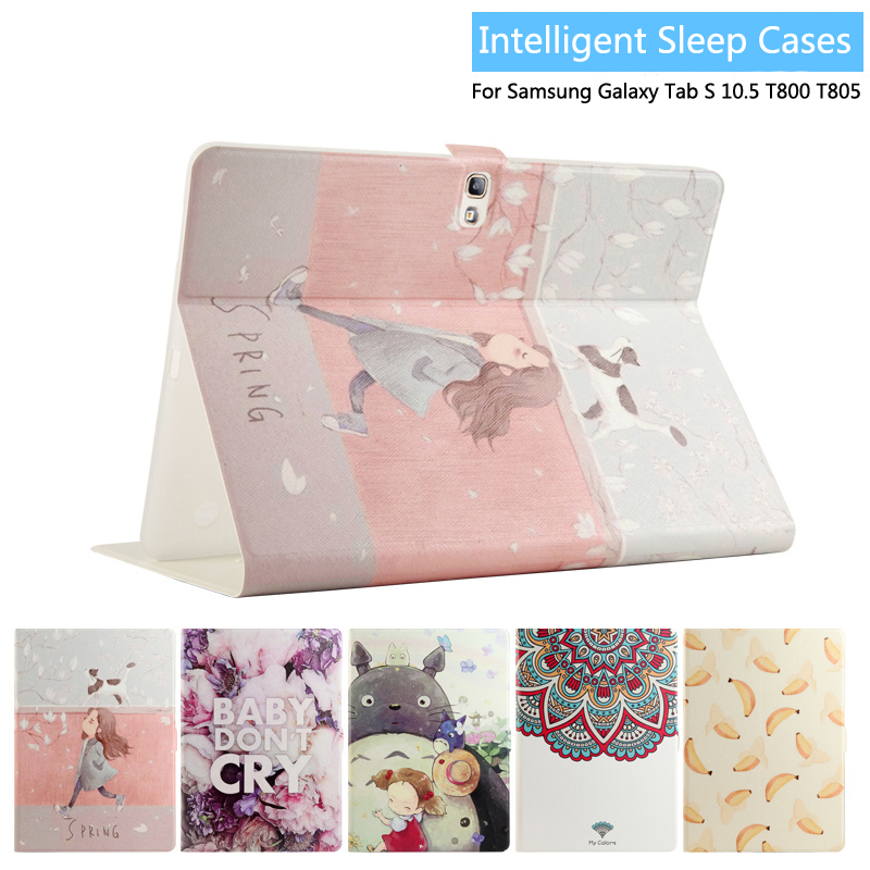 Fashion Painted Flip PU Leather For Samsung Galaxy Tab S 10.5 Case For Samsung Galaxy Tab S T800 T805 Smart Case Cover + Gift fashion painted flip pu leather for samsung galaxy tab 2 7 0 p3100 p3110 7 0 inch tablet smart case cover gift