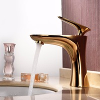 Antique Bathroom Faucet Gold Deck Mounted Leaf Single Handle Brass Lavatory Vessel Basin Taps with Ceramic Plate Spool, Chrome