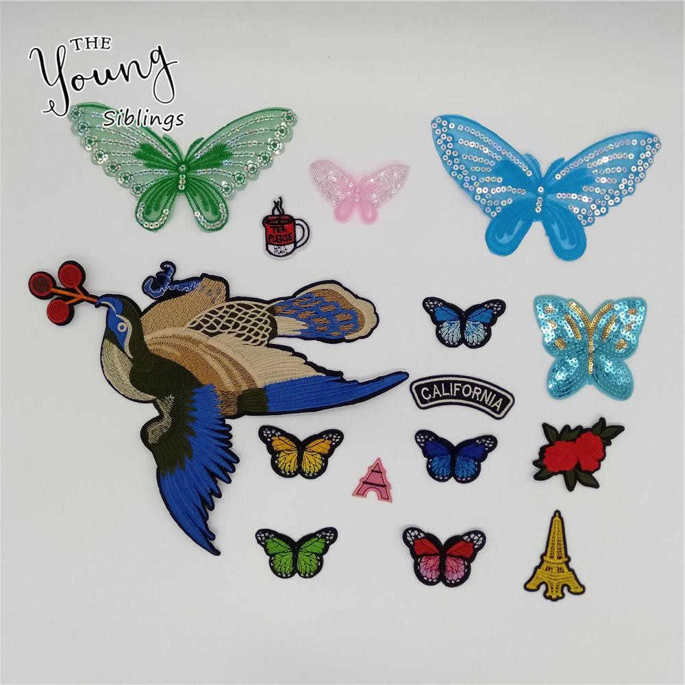 Diferentes tipos, gran oferta, apliques adhesivos termofusibles de mariposa, parches bordados, rayas, accesorios de ropa DIY, suministros para manualidades