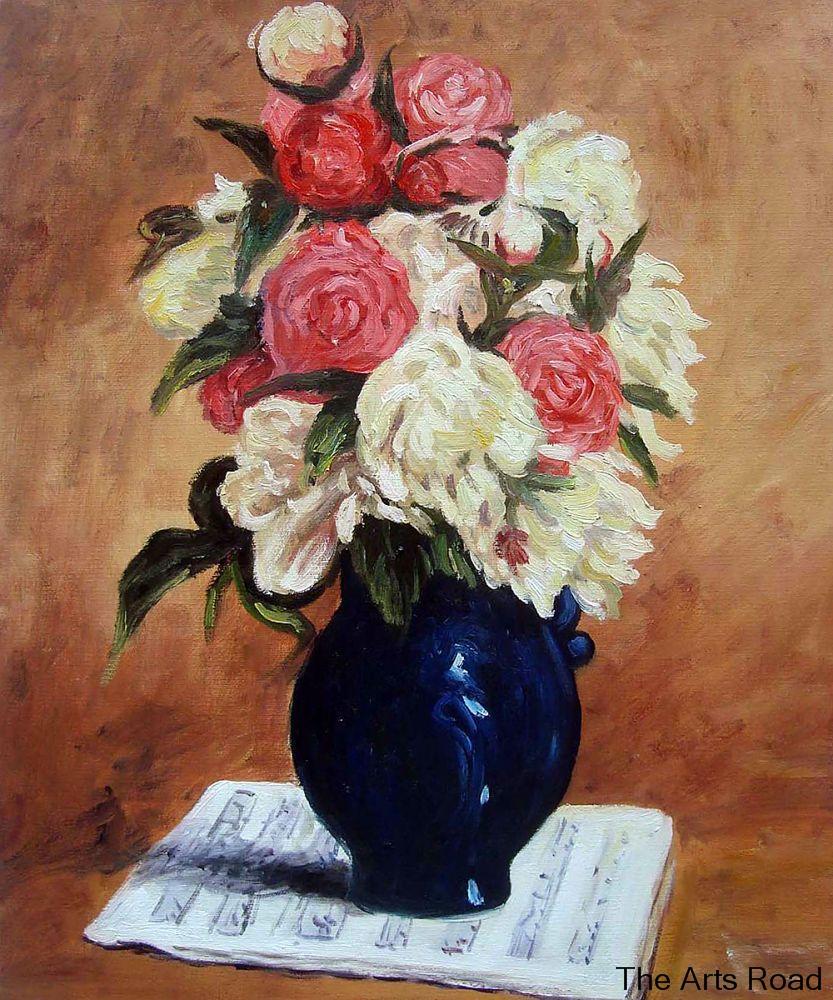 PEONIES IN VASE FLOWER STILL LIFE PAUL GAUGUIN PAINTING ART REAL CANVAS PRINT