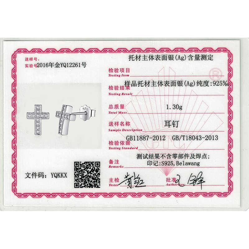 Asli 100% 925 Sterling Silver Crystal Anting-Anting 2018 Cross Anting-Anting untuk Wanita Perhiasan Natal Hadiah