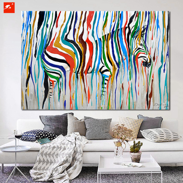 2016 Abstract Colourful Rainbow Zebra Animal Wall Art Hand Painted Oil  Painting Big Size Home Living