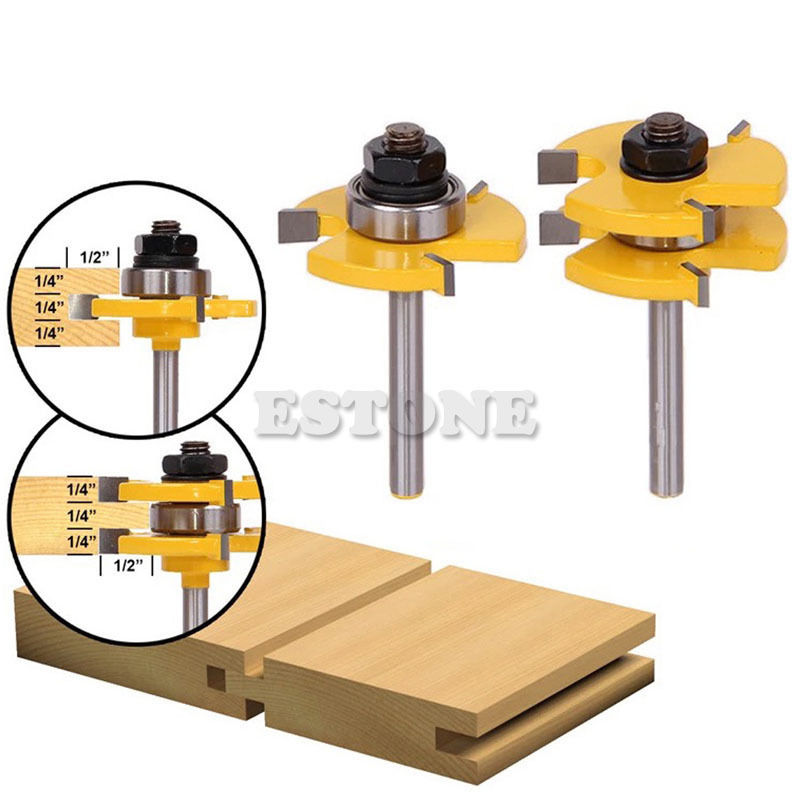 New 2Pcs Tongue & Groove Router Bit 3/4 Stock 1/4 Shank For Woodworking Tool  14.43 RU-1.27 2pcs tongue
