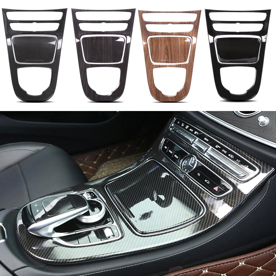 цена YAQUICKA 2Pcs/set Car Interior Console Gear Shift Panel Cover Trim Styling Sticker For Mercedes Benz E Class W213 2016 2017 ABS