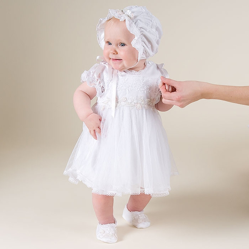 With Hat 2018 New Baby Infant Baptism Dresses Puff Sleeves Formal Short Sleeves A-Line Lace Baby Christening Gown scalloped ruched a line dress with short sleeves