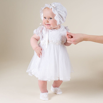 With Hat 2018 New Baby Infant Baptism Dresses Puff Sleeves Formal Short Sleeves A-Line Lace Baby Christening Gown