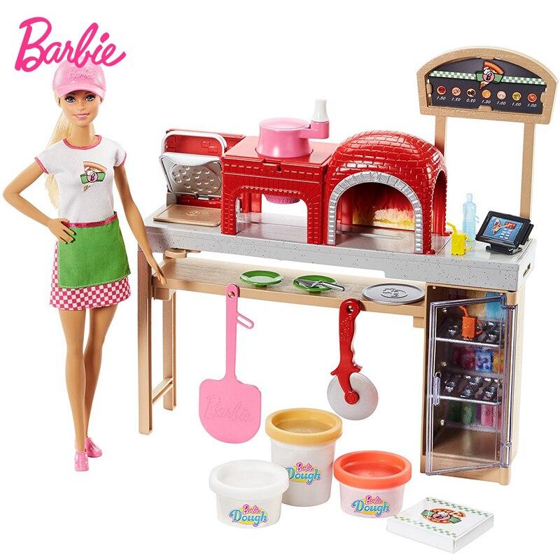 Originele Barbie Pop Pizza College Meisjes Prinses Gift Set Meisjes House Keuken Speelgoed Beste Verjaardagscadeau Kerst Nieuwjaar Gift FHR09-in Poppen van Speelgoed & Hobbies op  Groep 1