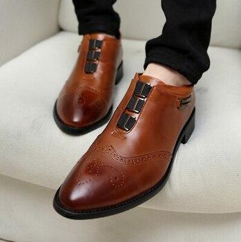 Popular Men Vintage Pointed Toe Carve PU Leather Oxfords Shoes Breathable Fashion Leisure Shoe For Men Elastic Band Size 28-62