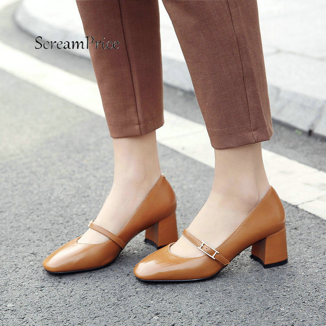 Women Buckle Strap Comfortable Low Heel Pumps Fashion Square Toe