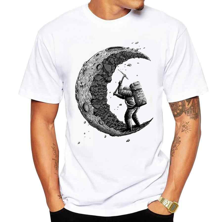 Sunmmer Men T-Shirts digging the moon print cotton O-Neck short-sleeved t shirt Men's Casual brand Tee Shirt men tshirt size 5XL