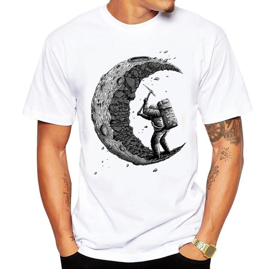 Sunmmer Men   T  -  Shirts   digging the moon print cotton O-Neck short-sleeved   t     shirt   Men's Casual brand Tee   Shirt   men tshirt size 5XL