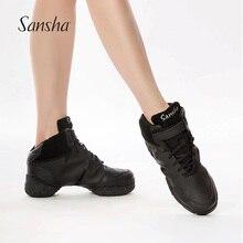 [50% OFF Kusurlu Ürün] Sansha Dans Sneakers Kadın Erkek Üstün Deri Modern Salsa Caz Dans Ayakkabıları Siyah/ beyaz B52LPI