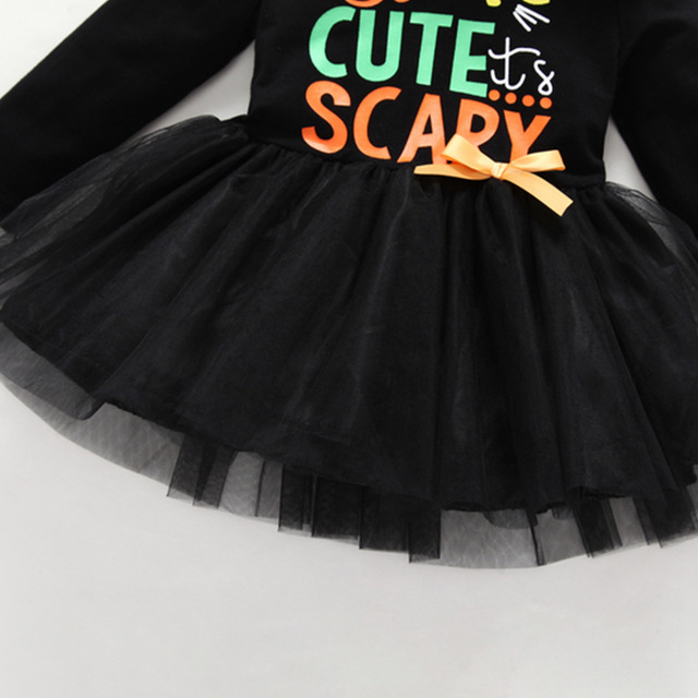 Cute Toddler Scary Cat Black 2 Pieces Suit Dress+Orange Pants Outfits