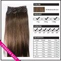 """15 """" - 22 """" Remy cabelo clipes retas em extensões de cabelo de 70gr meio marrom 6"""