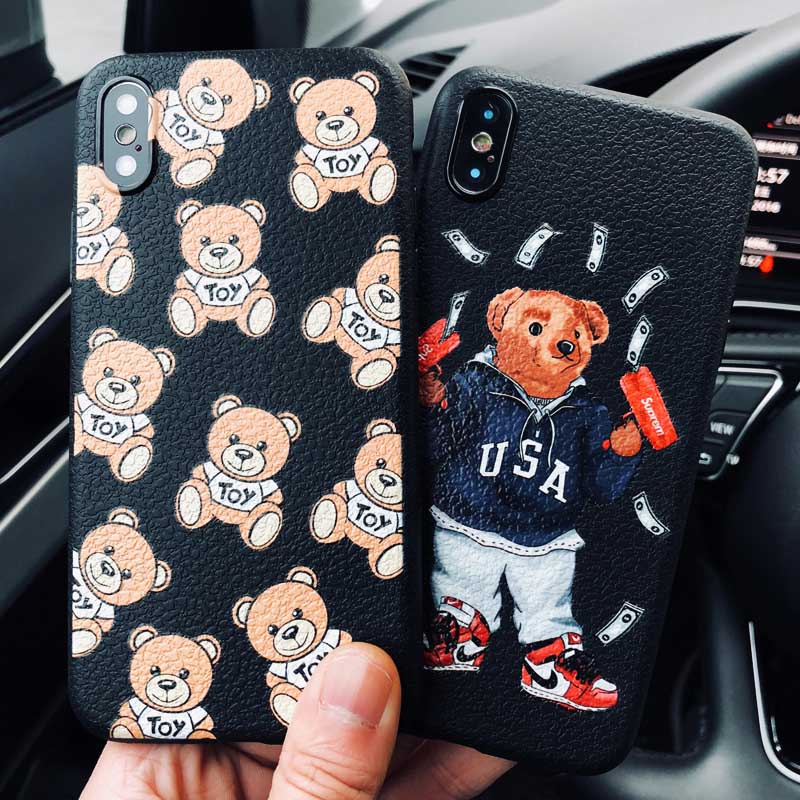 5cba32568e7 Lovely Bear Cover For iPhone 5 5S SE 6 6S 7 8 Plus X XR XS Max Soft  Silicone Litchi Texture Coque For iPhone 7 Luxury Phone Case