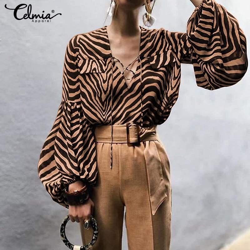 Women   Blouse   Sexy V-neck   Shirts   Celmia 2019 Autumn Casual Lantern Sleeve Lace Up Zebra Pattern Work Tops Plus Size Blusas Mujer