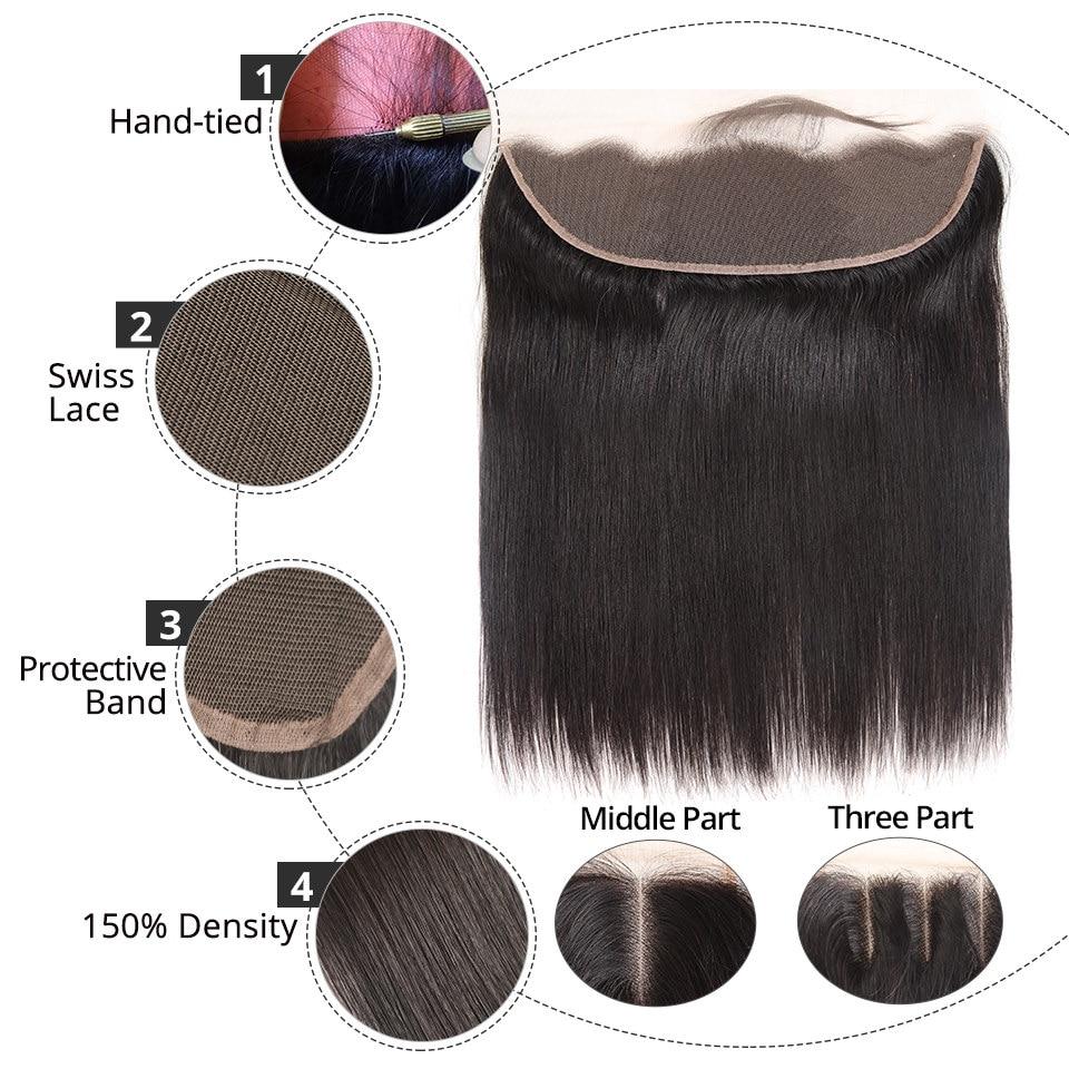 HTB17vXDCKuSBuNjy1Xcq6AYjFXaK Brazilian Straight Human Hair Bundles With Lace Frontal Closure Pre Plucked 13x6 Lace Frontal With 3 Bundles Remy AliPearl Hair