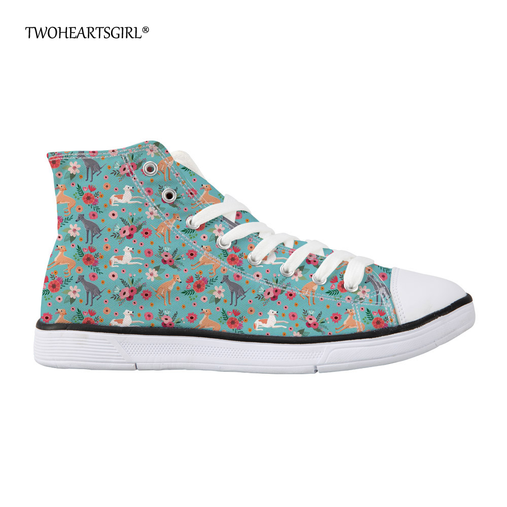 Twoheartsgirl Custom Flower Greyhound Dog High Top Canvas Shoes Blue Casual Womens Vulcanize Shoes Lace Up Femme Flats