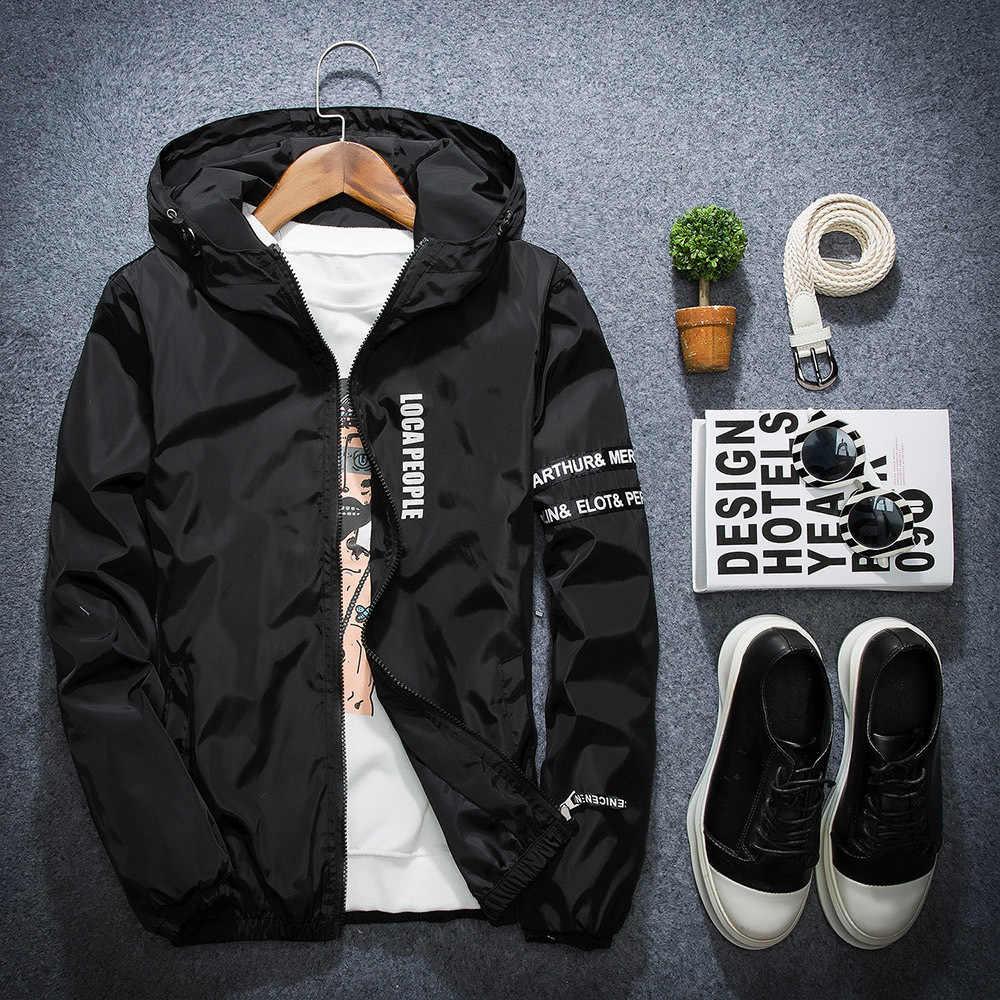 2018 春秋の新ファッションスリムフィット若い男性フード付きジャケット薄型ジャケットブランドカジュアルウインドブレーカートップ品質 4 色 s-4XL