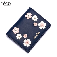 2018 Brand Designer Flower Leather Women Short Wallets Ladies Small Wallet Hasp Coin Women Purse Wallet Female Purses Money Bag