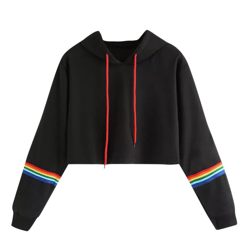 Women's Clothing Hirigin New Womens Casual Long Sleeve Crop Top Hoodie Casual Long Sleeve Sweatshirts Jumper Pullover Spring New Tops Uk Spain