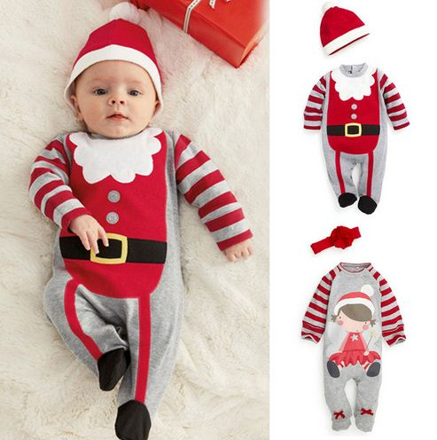 Christmas Clothes Infant Baby   Rompers   Boys Girls Hat Costume Outfits Xmas Unisex playsuit Jumpsuits New Year   Rompers