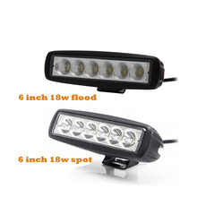 ECAHAYAKU 2Pcs 6 inch 18w  LED Spot Flood Work Light bar 10V-30V for Off Road Jeep BMW SUV trucks Boat Car Styling fog light