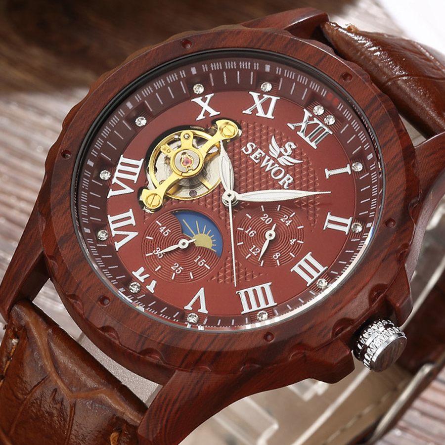SEWOR Luxury Brand Vintage Lmitation Wood Steel Case Tourbillon Mechanical Mens Watches Leather Straps Fashion Wooden Watch 2017