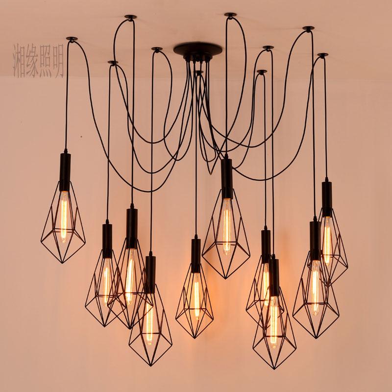 Vintage Spider pendant lights luminaire lamp Loft E27 Industrial Lighting Retro Loft Hanging Suspension Fixtures Home