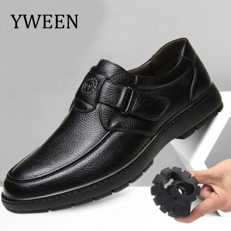 YWEEN New Arrive Leather Shoes Slip One Men Casual Shoes Handmade Moccasins Massage Hoop Loop Shoes Men Flats