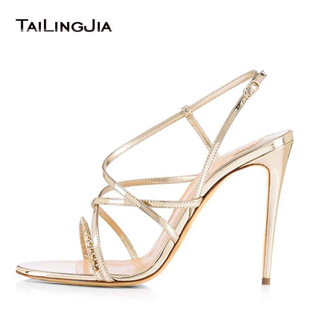 588825912b8de5 Women s High Heel Strappy Sandals Spikes Dress Heels Bridal Wedding Red  Carpet Shoes Ladies Summer Stilettos Wholesale Plus Size-in High Heels from  Shoes on ...